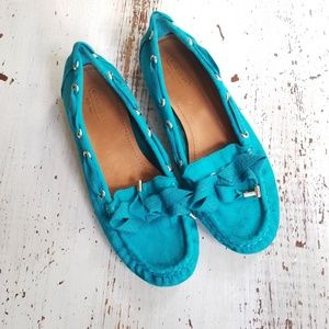Coach Signature Fabric Turquoise Loafers Sz 7